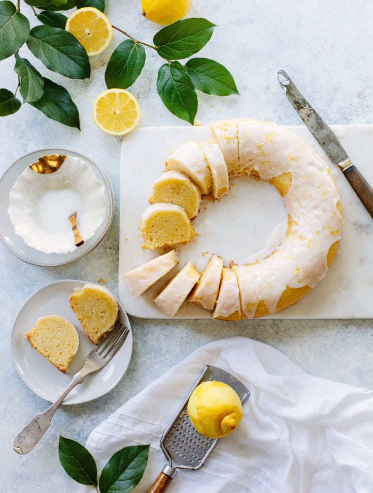 A super-moist lemon cake with the texture of pound cake, amped up with lots of lemon flavor and a tangy lemon glaze.