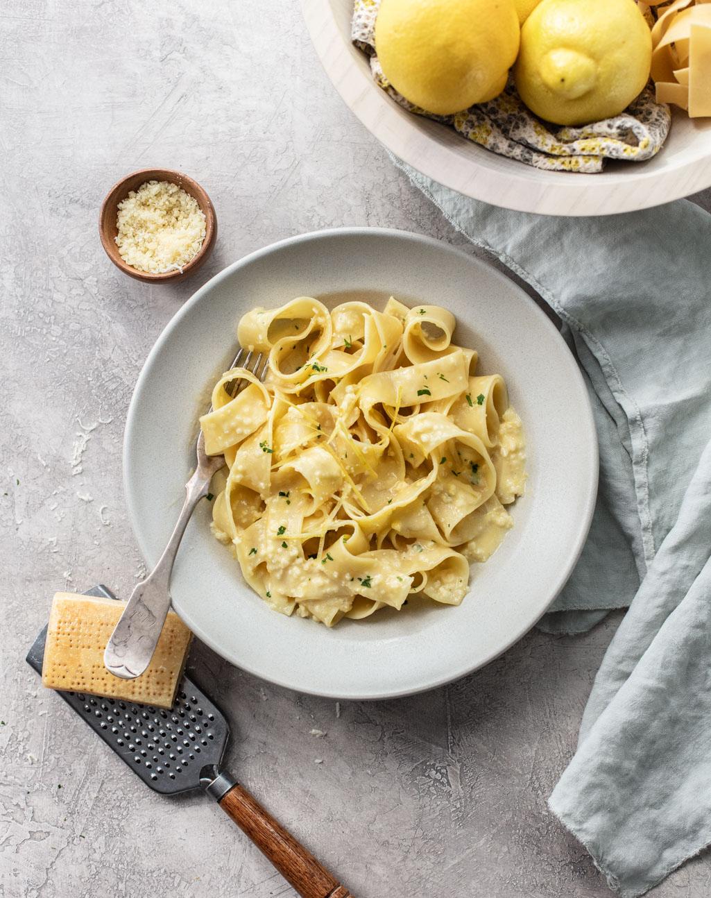 Pappardelle al Limone {Creamy Lemon Pasta}