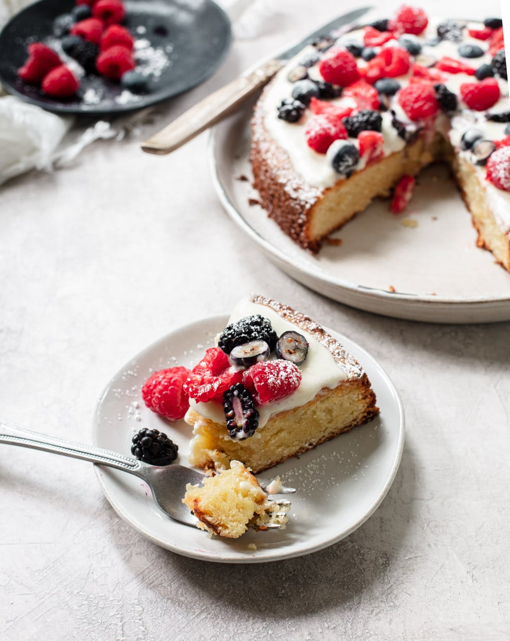 Easy Moist Almond Cake Recipe with Summer Berries and Cream Cheese Icing