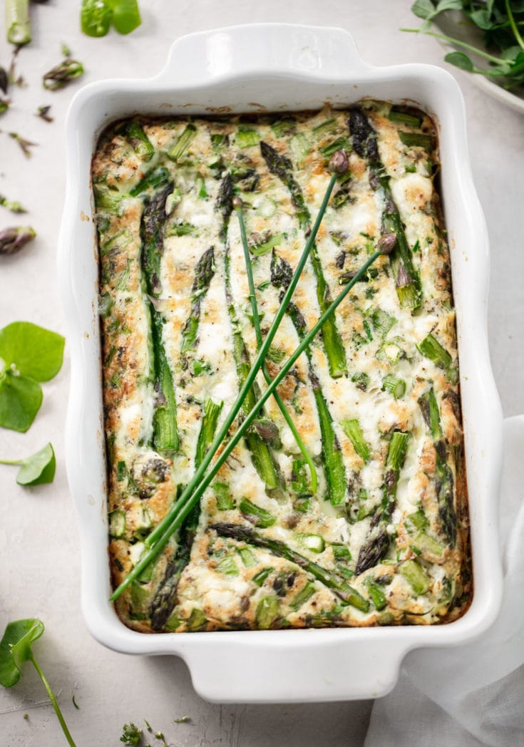 Baked Egg White Asparagus Frittata with Goat Cheese