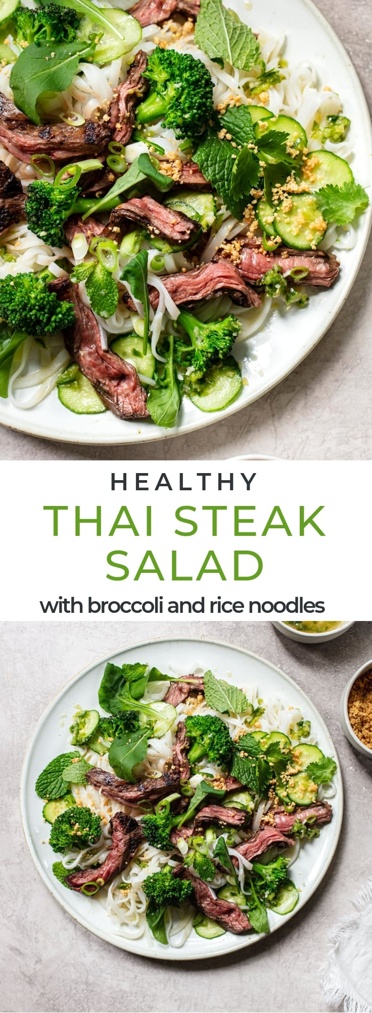 Healthy Thai Steak Salad with Rice Noodles, Broccoli and Herb Salad. #healthy #glutenfree #cleaneating