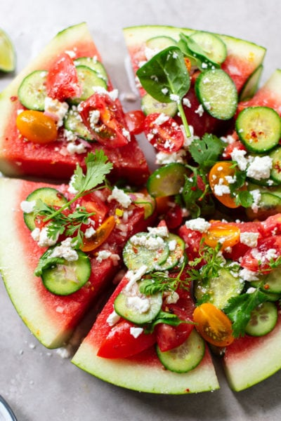 Watermelon, Cucumber and Feta Wedge Salad