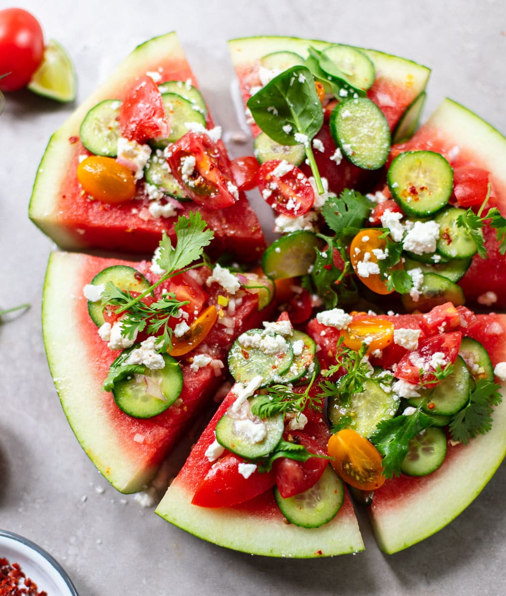 Watermelon Wedge Salad with Feta and Cucumber