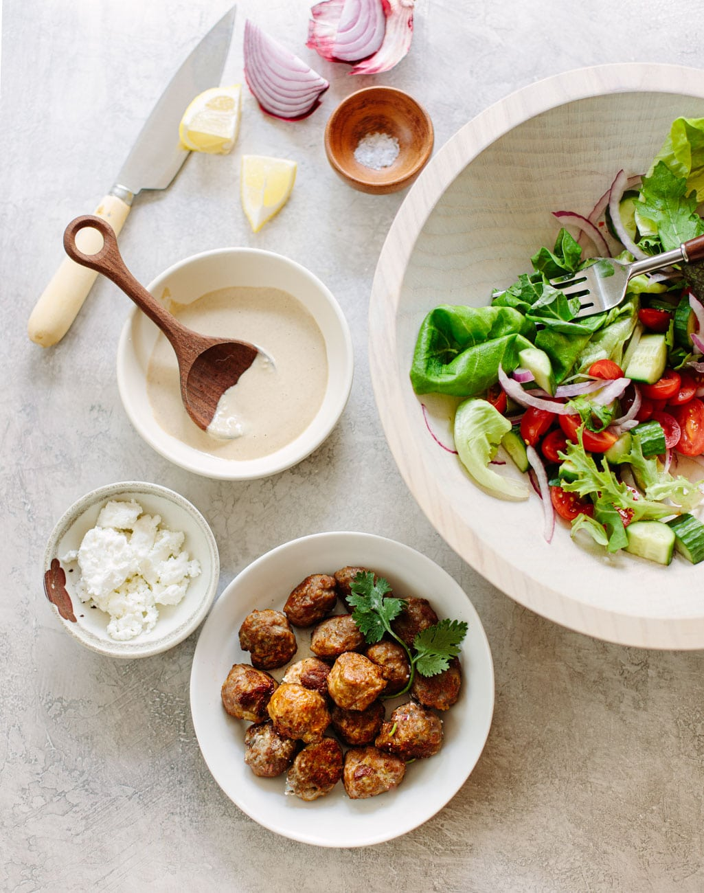 Gyro Salad with Chicken Meatballs