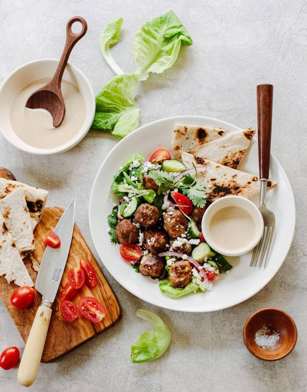 Healthy Gyro Salad with Spiced Chicken Meatballs