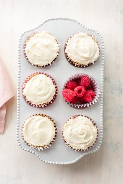 Raspberry-Filled Vanilla Cupcakes