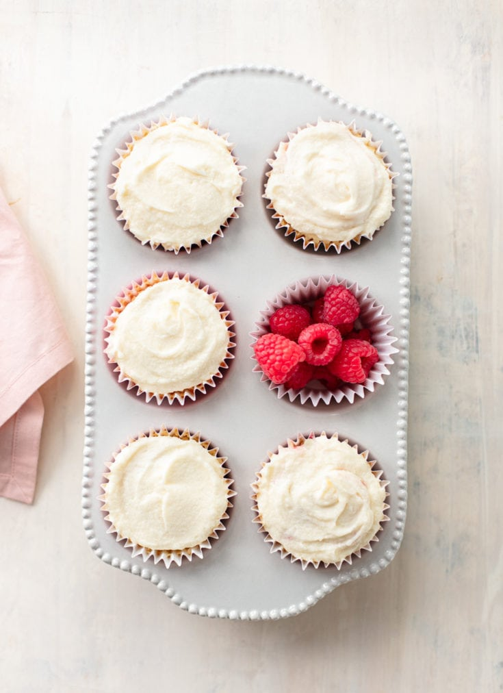Fresh Raspberry-Filled Vanilla Cupcakes