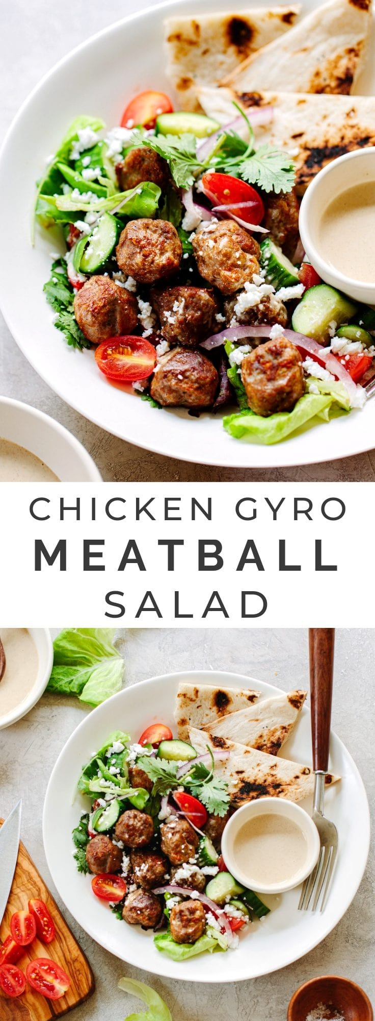 Healthy, flavorful chicken gyro salad, topped with tasty spiced meatballs, chopped veggies and a lemon tahini sauce or tzatziki. Perfect low-carb main dish. #easy #lowcarb #keto #salad #recipe