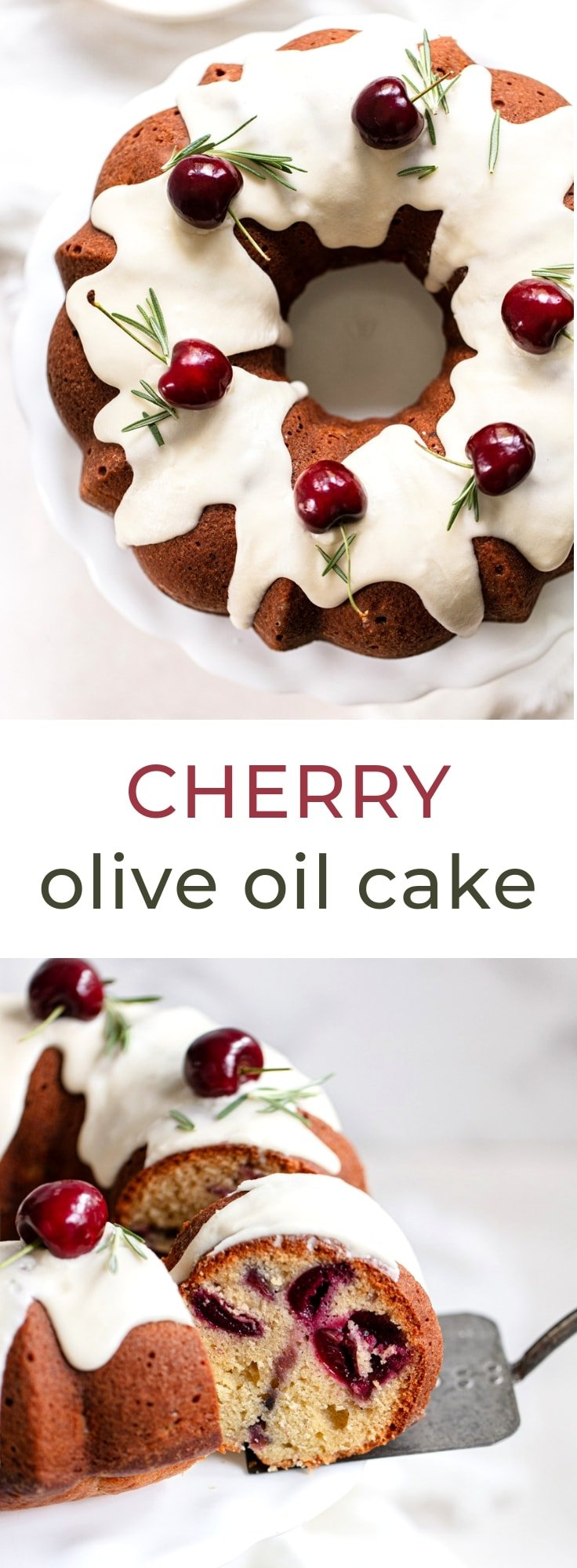Cherry Olive Oil Cake - A simple recipe for light and moist Italian olive oil cake with fresh cherry filling.