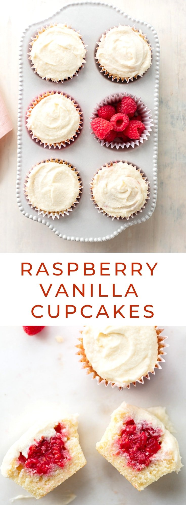 Raspberry-Filled Vanilla Cupcakes: A recipe for the best moist white cupcakes, filled with fresh berries and frosted with Buttermilk Buttercream