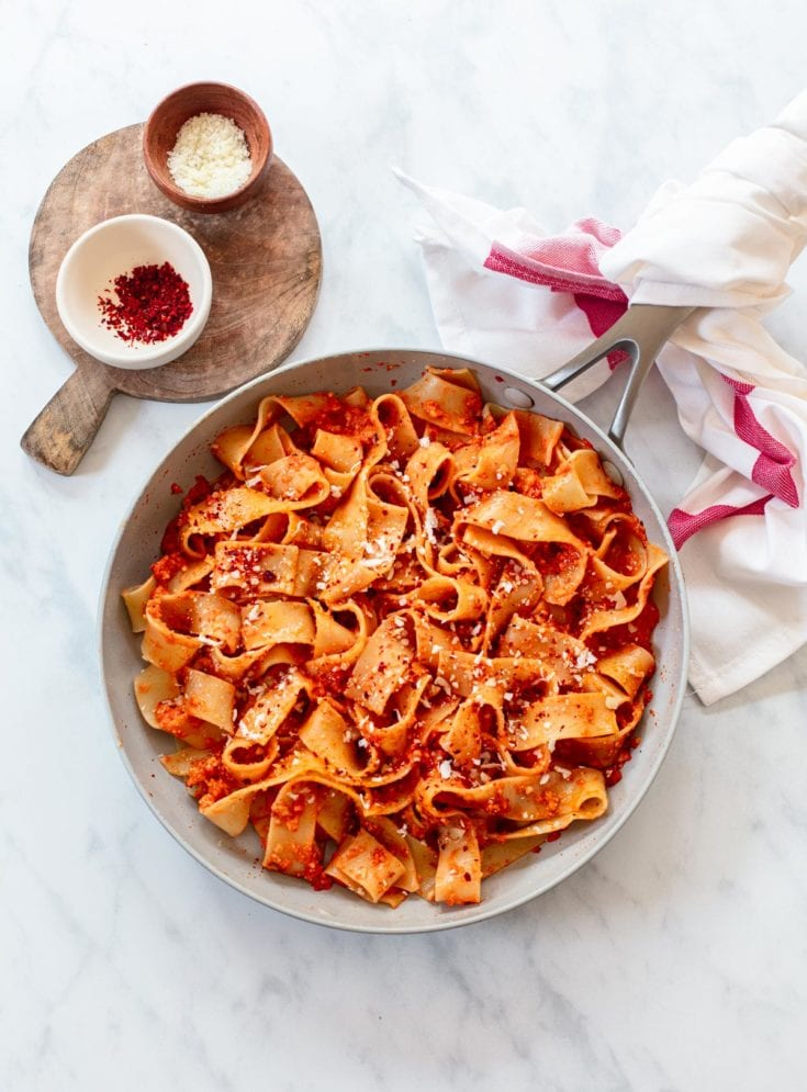 Pappardelle Pasta with Roasted Red Pepper Sauce