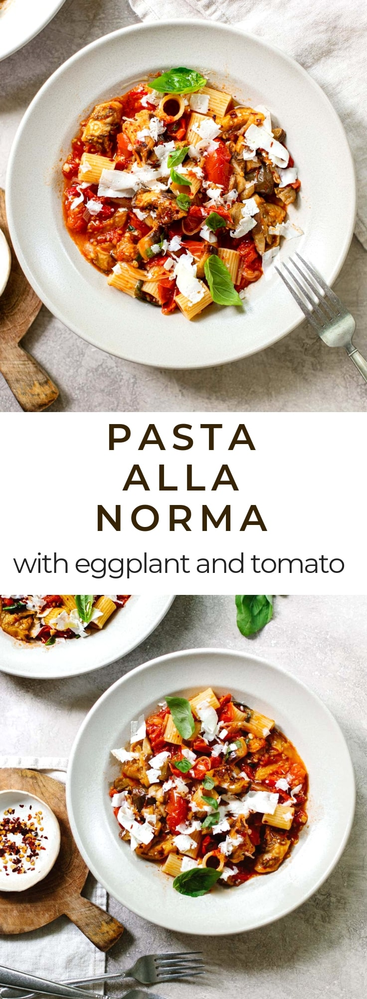 Pasta all Norma: An easy vegetarian pasta sauce you'll fall in love with. Roasted eggplant, fresh tomato sauce and basil topped with ricotta salata cheese. #Italian #recipe #healthy