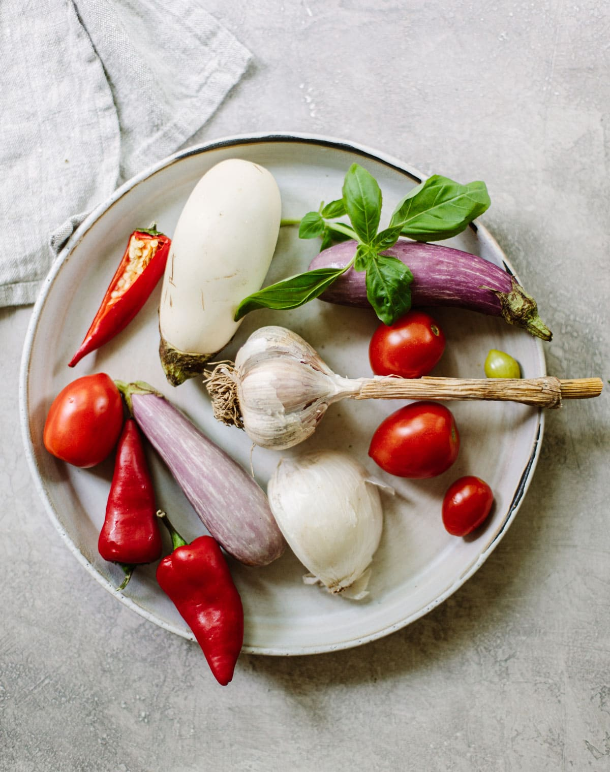 Ingredients for making Pasta alla Nonna sauce.