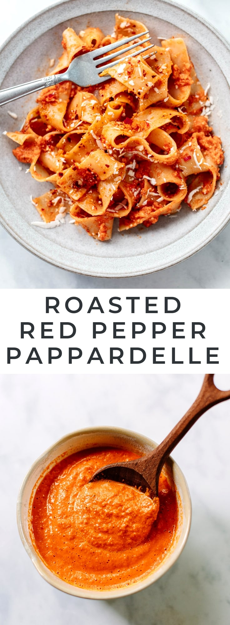 Pappardelle with Roasted Red Pepper Sauce - An easy, elevated pasta recipe with pappardelle noodles in a savory, spicy red bell pepper sauce. So good!