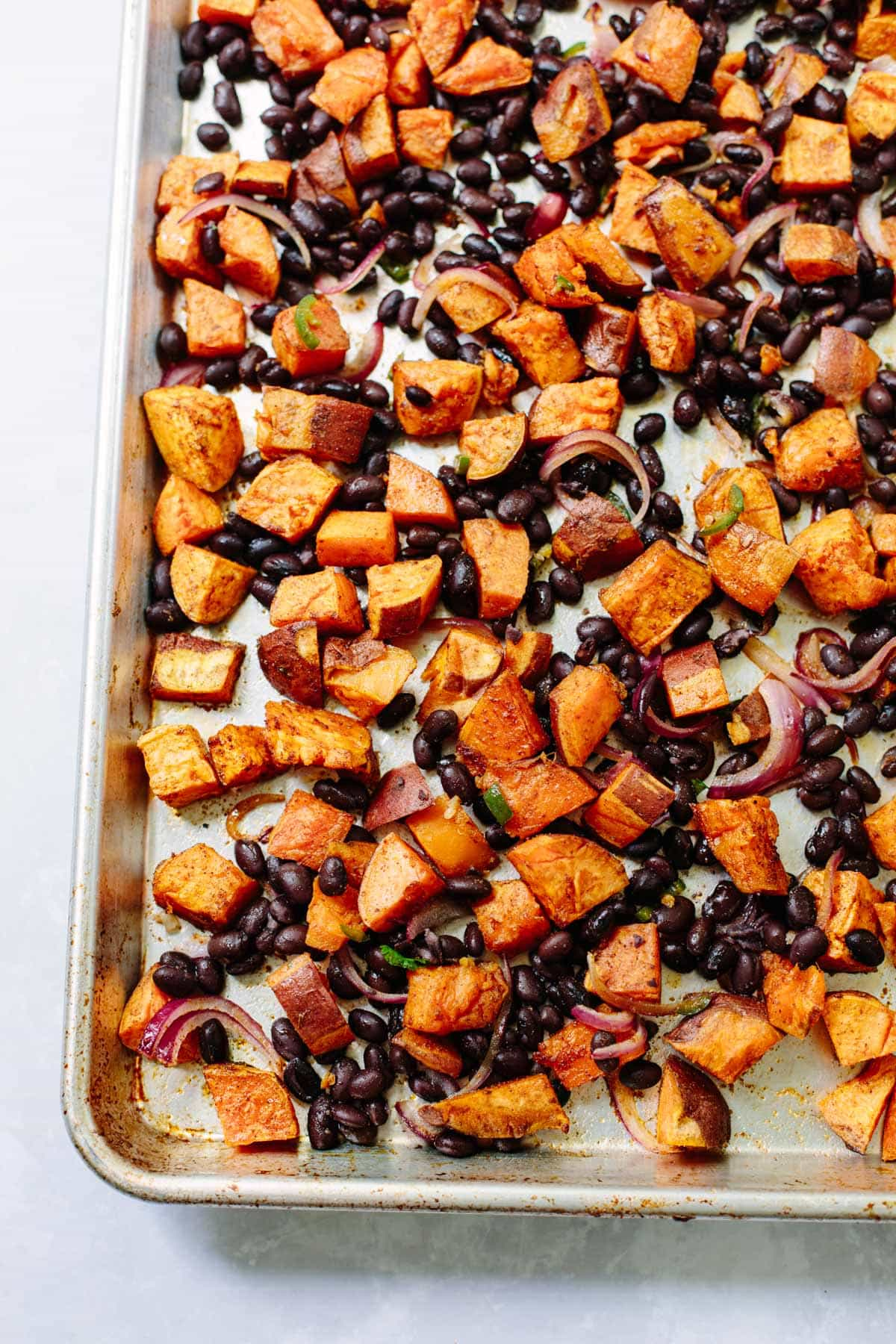 Spicy Roasted Sweet Potato Salad with Black Beans