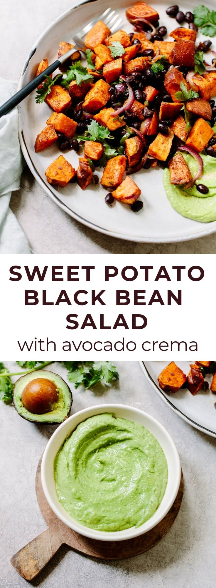 Roasted Sweet Potato Salad with Avocado Crema - Delicious and healthy vegetarian salad packed with flavor.