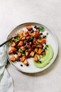Roasted Sweet Potato Salad with Black Beans and Avocado Crema