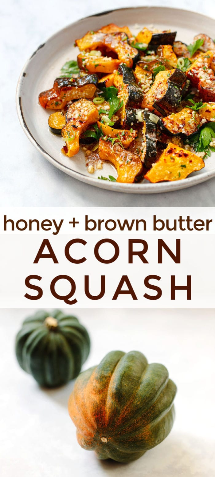 The most delicious way to roast acorn squash! Tender caramelized squash with brown butter, honey and Parmesan cheese. Perfect fall vegetable side dish recipe. #vegetarian
