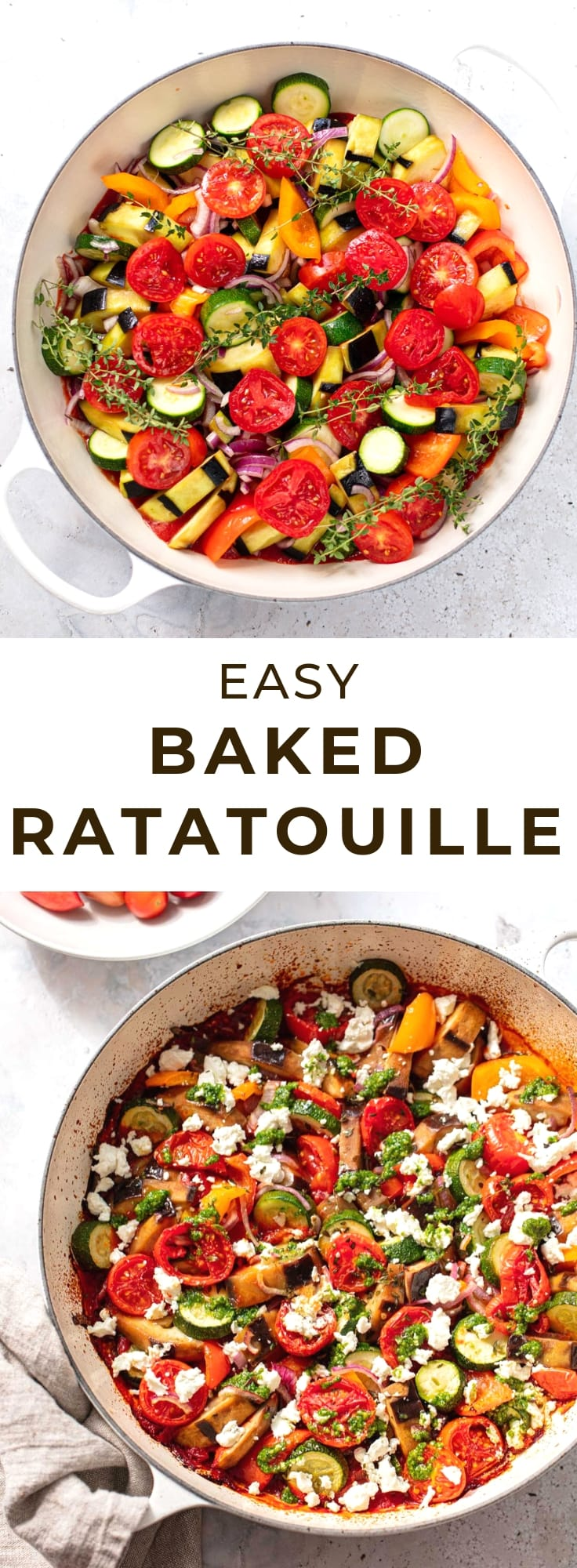 Easy recipe for traditional ratatouille, a FANTASTIC tasty vegetarian/vegan casserole with Mediterranean vegetables and pesto.
