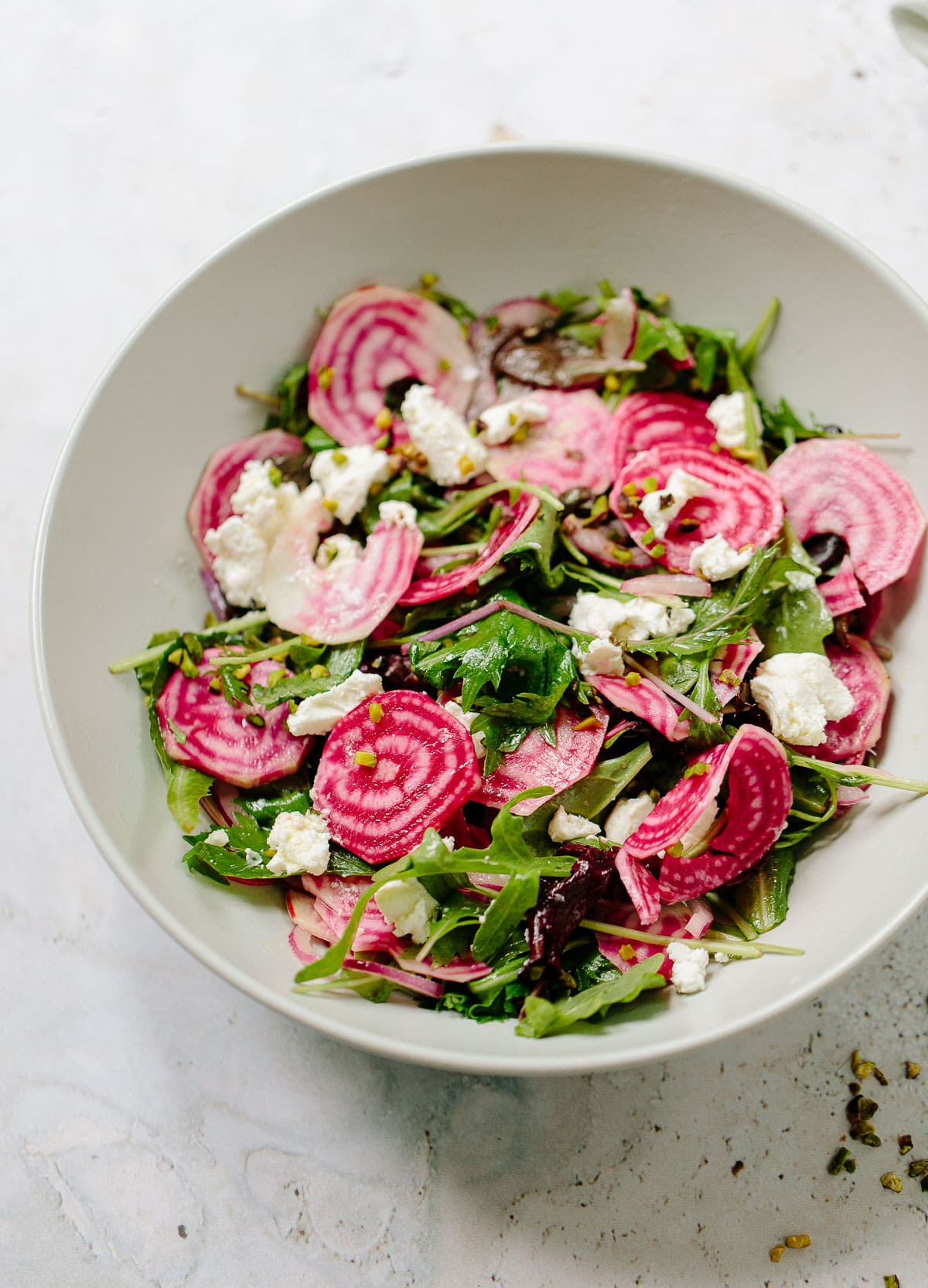 Candy Cane Beet Salad with Goat Cheese and Pistachios