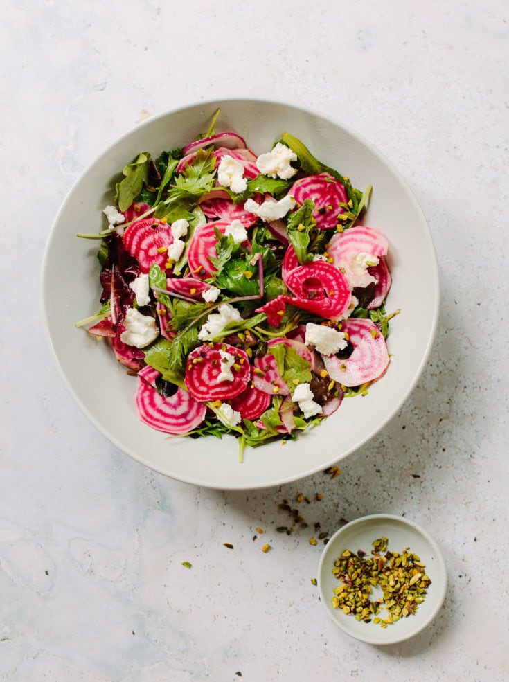 Candy Cane Beet Salad with Goat Cheese