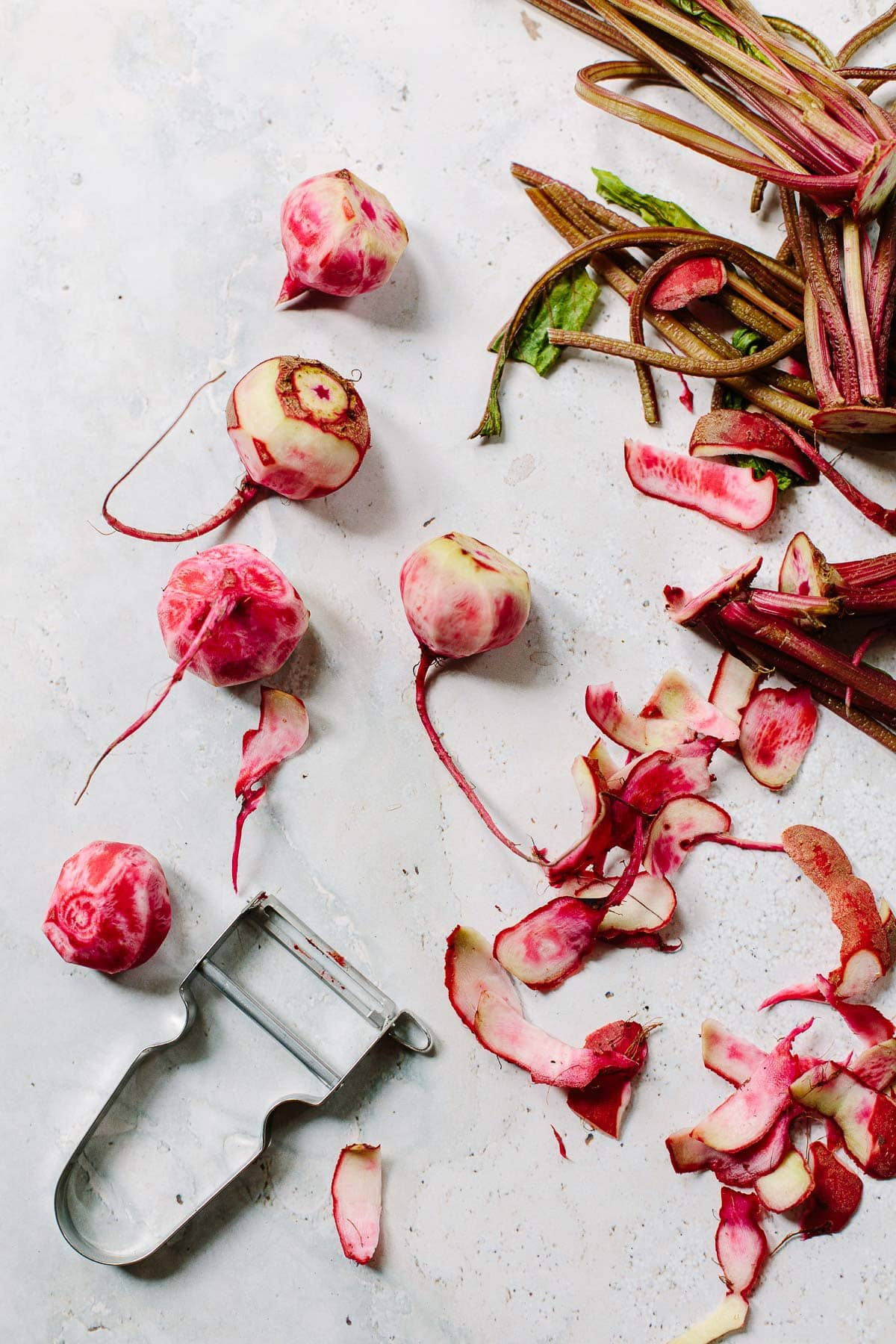 How to peel Chioggia beets