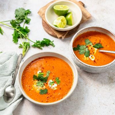 Thai Coconut Red Lentil Soup (Vegan)
