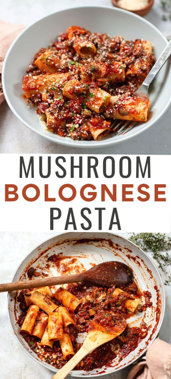 Vegetarian Mushroom Bolognese Pasta Sauce - 30-minute recipe.