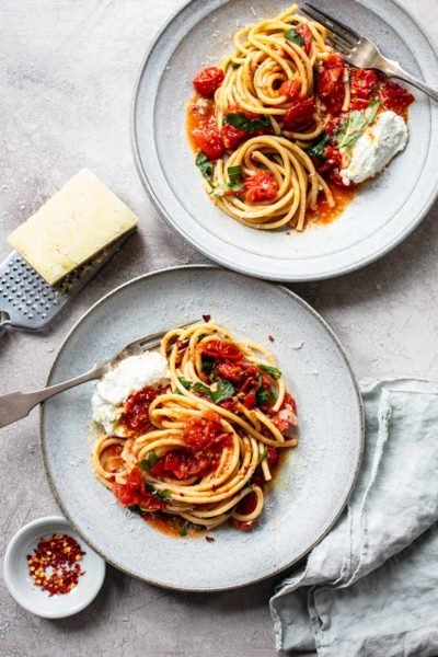 Bucatini Pasta with Sheet Pan Tomato Sauce