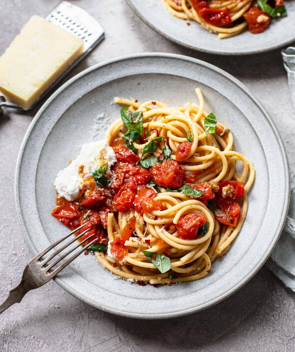 Bucatini Pasta with Sheet Pan Tomato Sauce