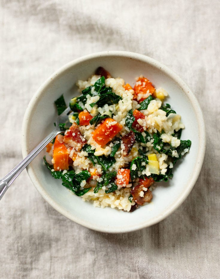Oven Risotto with Butternut Squash, Kale and Bacon