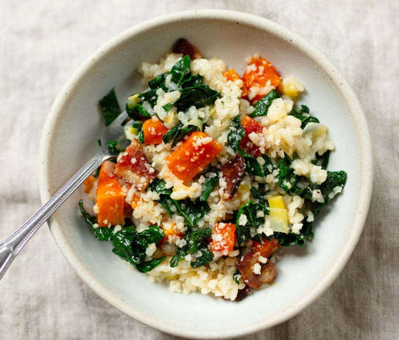 Butternut Squash Risotto with Kale and Bacon