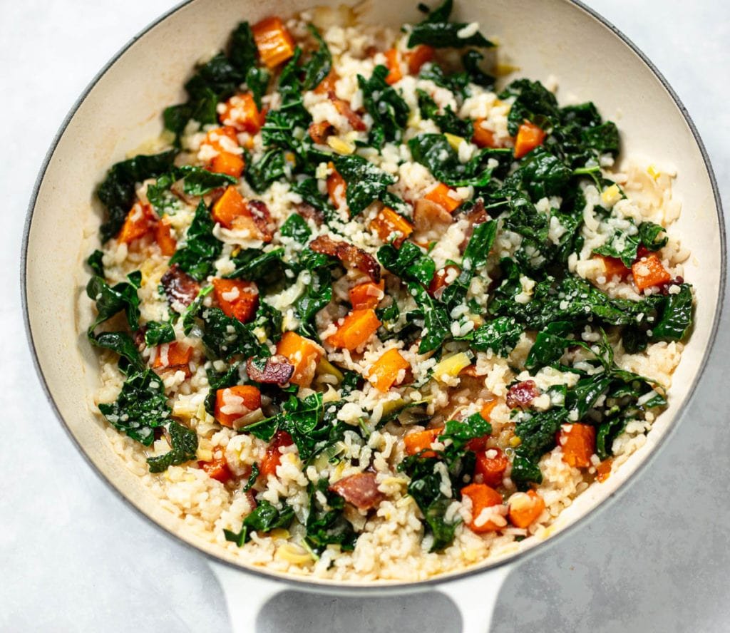 Oven Risotto Recipe with Smoky Butternut Squash and Bacon