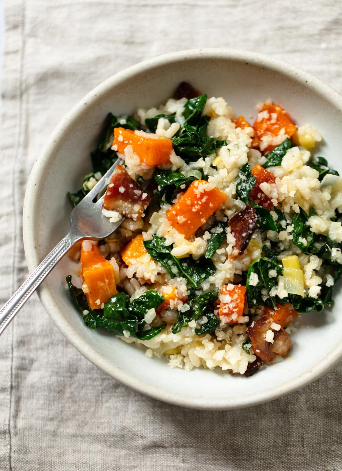 Butternut Squash Risotto with Kale and Bacon (Hands-Free)