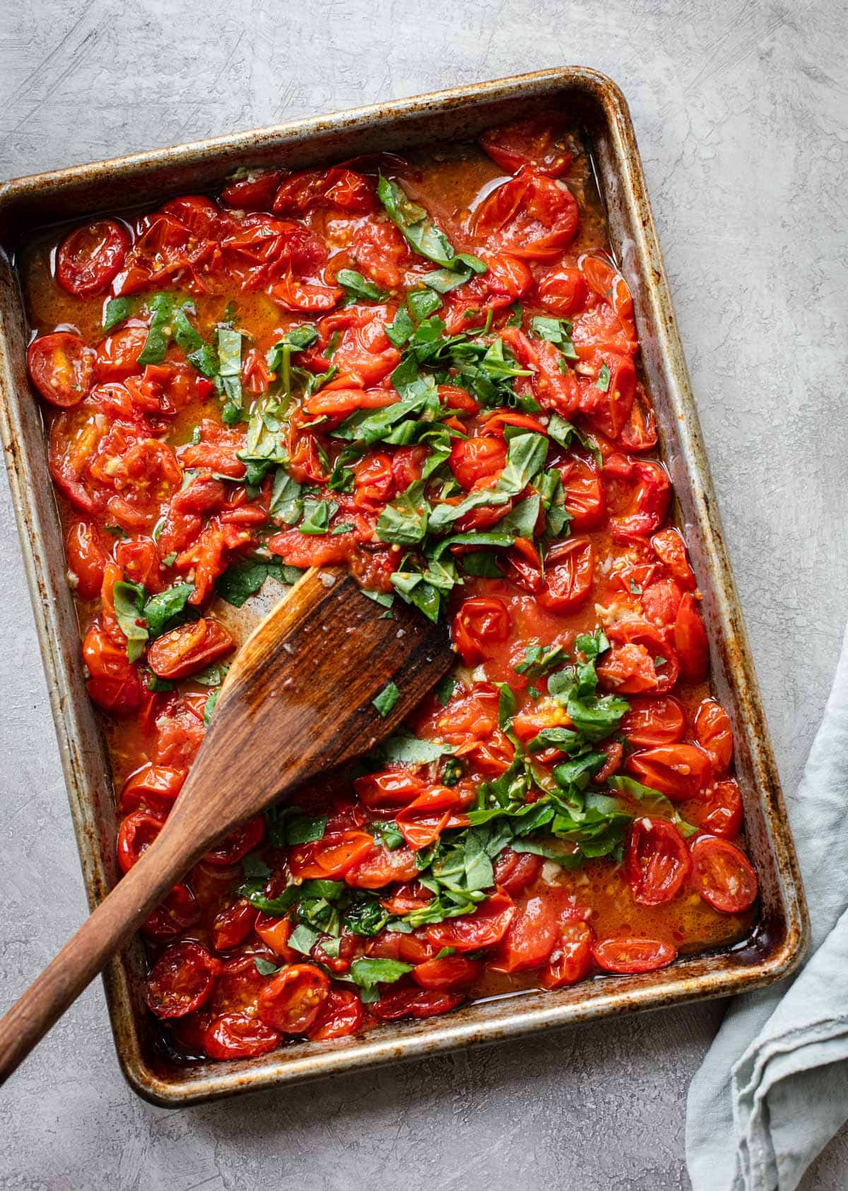 Bucatini with Spicy Sheet Pan Tomato Sauce