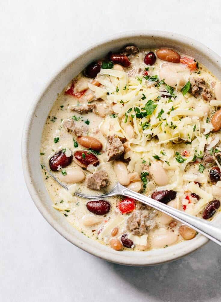 White Three-Bean Chili with Sausage