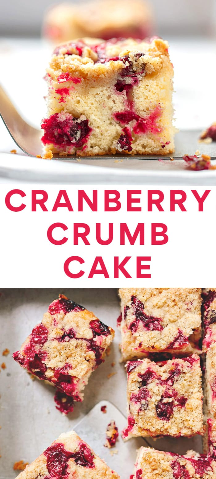 Cranberry Crumb Cake recipe - a fruit-filled tender buttermilk cake with buttery crumb topping.