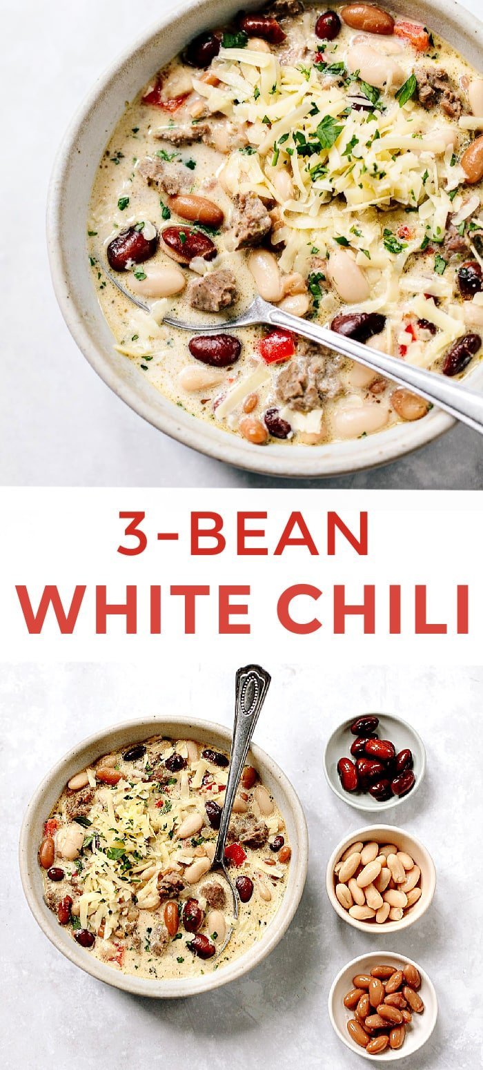 White Three Bean Chili with Turkey Sausage