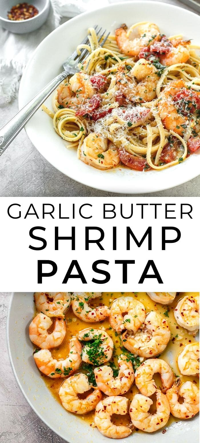 Pan-cooked shrimp with buttery garlic sauce and linguine pasta.