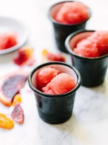 Homemade fresh Tangerine and Blood Orange Sorbet is a beautiful winter dessert - make with or without an ice cream maker.