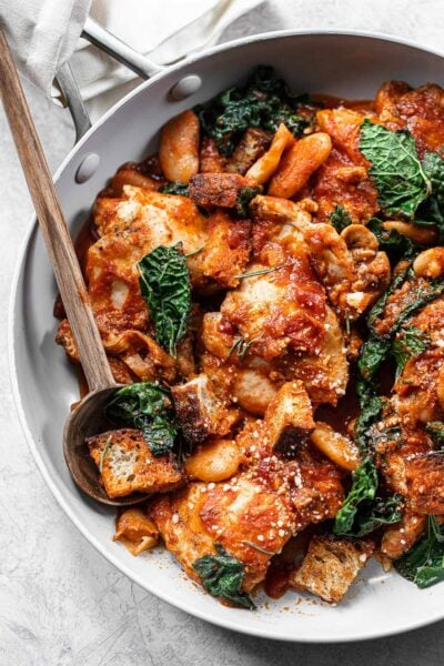 One Pan Tuscan Chicken with Kale, Beans and Tomato