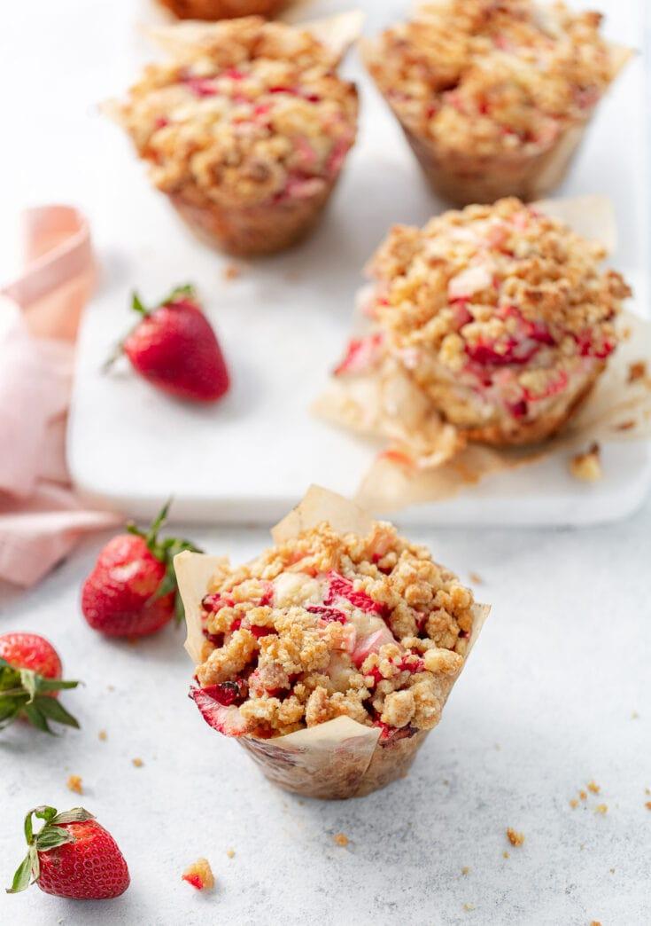 Big Strawberry Rhubarb Buttermilk Muffins with Brown Sugar Streusel