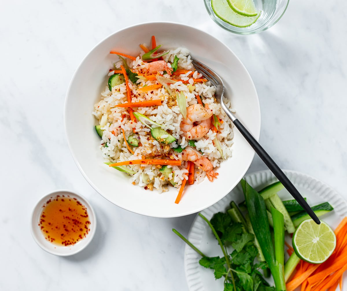 Asian Rice and Shrimp Salad with fresh lime, carrots and peanut dressing.