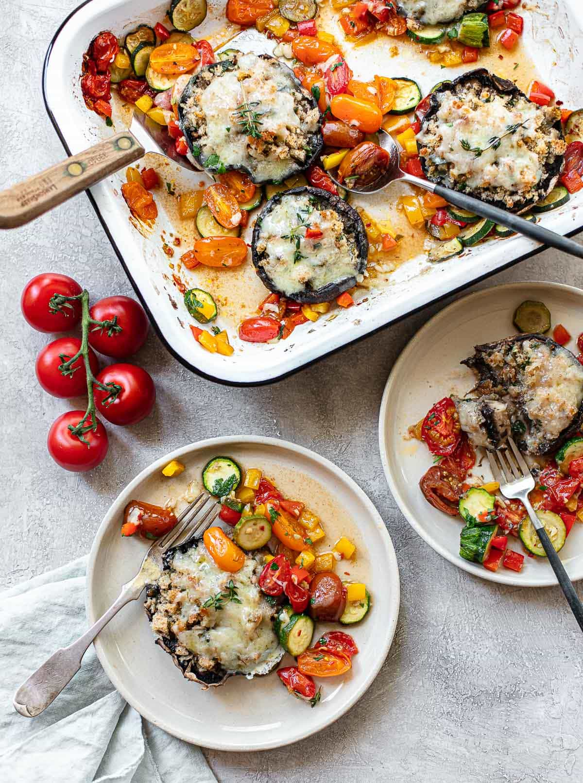 Cheesy Stuffed Portobello Mushrooms with Roasted Mediterranean Vegetables