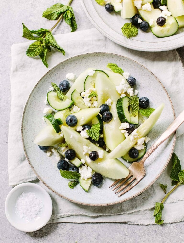 Honeydew Cucumber Salad with Feta and Blueberries
